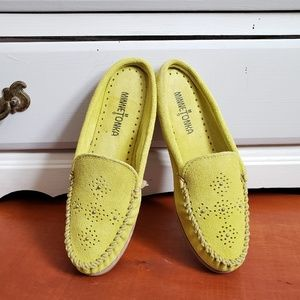 Minnetonka Lime Green Slip Ons